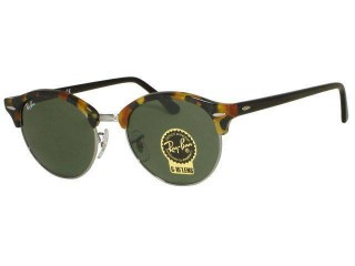 Ray Ban RB 4246 Round Clubmaster 1157 Spotted Black Havana Sunglasses.
